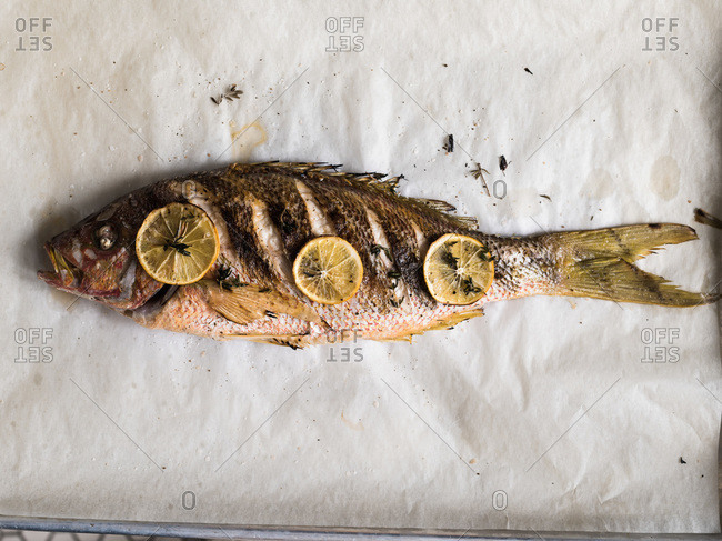 A baked whole fish