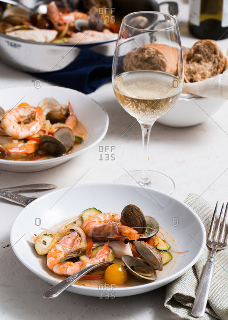 Two bowls of bouillabaisse