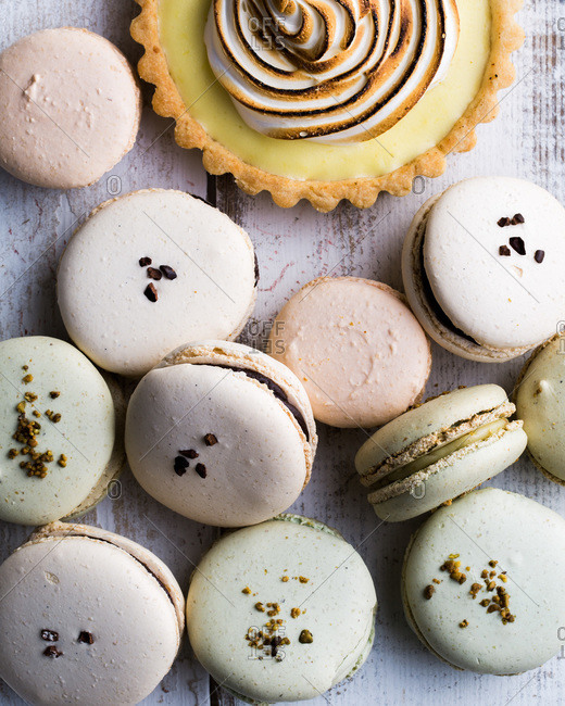 Macaroons and a meringue tart