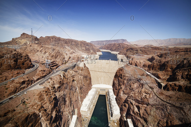 Hoover Dam on the Colorado River on the border of Nevada and Arizona