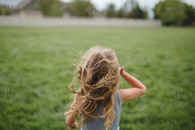 Back view of young girl with wind blown hair in a field