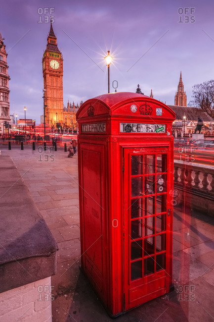 March 22, 2015: Typical English red telephone box near Big Ben, London