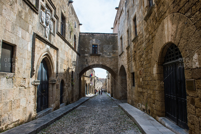 Arch at the Street of the Knights in the Medieval Old Town ...