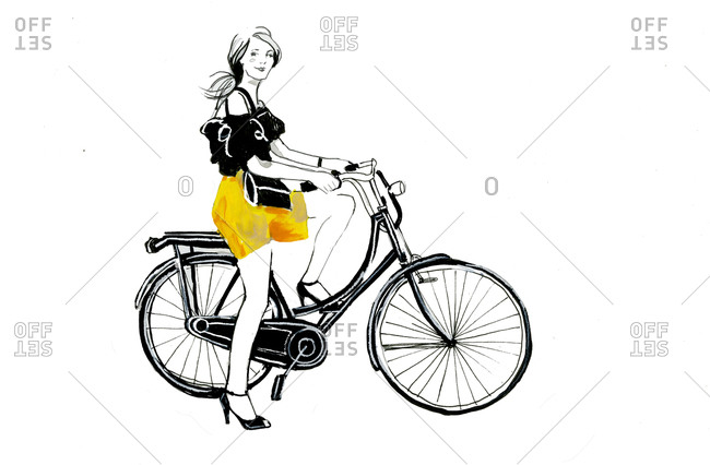 A woman wearing high heels and a yellow skirt on a bicycle