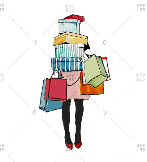 A woman holding a tower of shopping boxes and bags