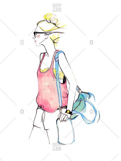 Woman wearing a casual tank top and shorts carrying a duffel bag