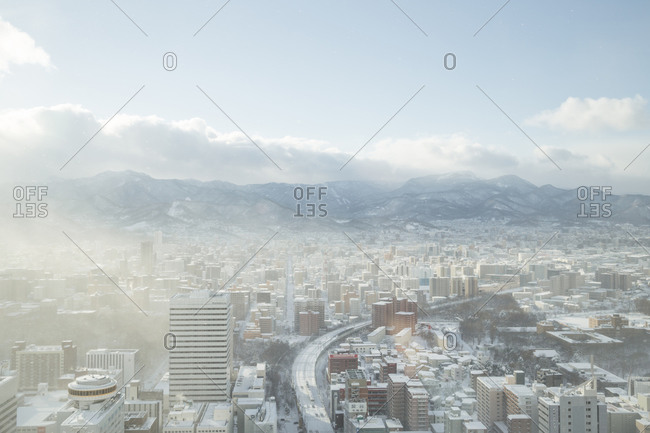 City view of Sapporo, Japan in winter