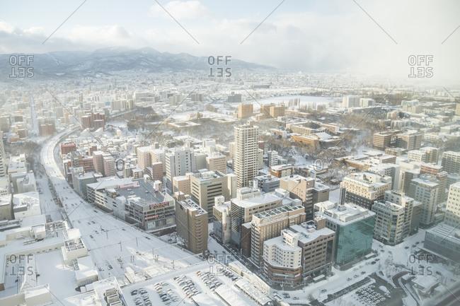 Sapporo, Japan - January 13, 2014: Hokkaido University view from JR tower, Sapporo