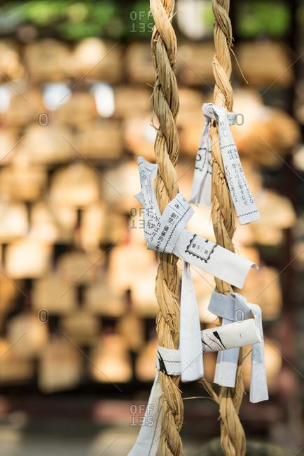 Osaka, Japan - May 19, 2015: Close up of prayers and wishes at the Nanbayasaka Shrine, Osaka, Japan