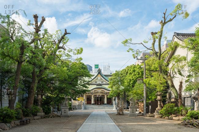 Osaka, Japan - May 19, 2015: Path leading to Nanbayasaka Shrine in Osaka, Japan