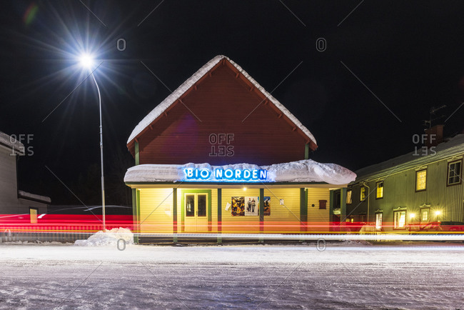 Jokkmokk, Sweden - February 7, 2015: Restaurant with neon sign at night