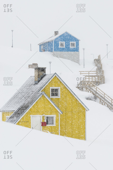 Houses in snowy weather