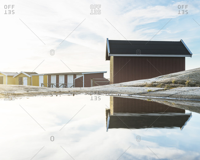 Fishing huts at water
