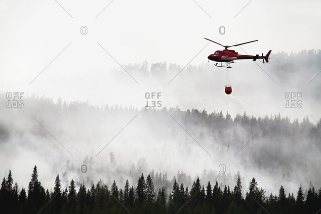Helicopter pouring water on forest fire