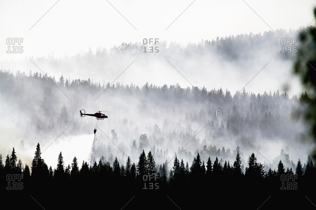 Helicopter spraying water on forest fire