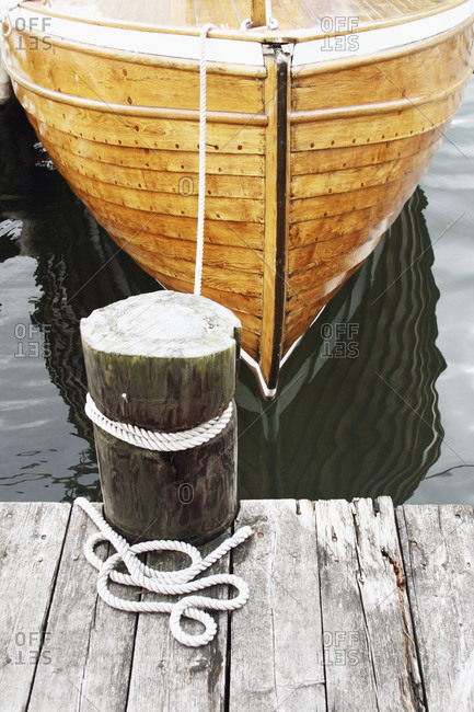 Moored wooden boat