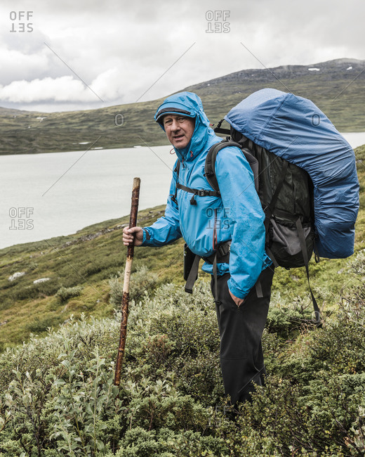 Mature hiker in mountains
