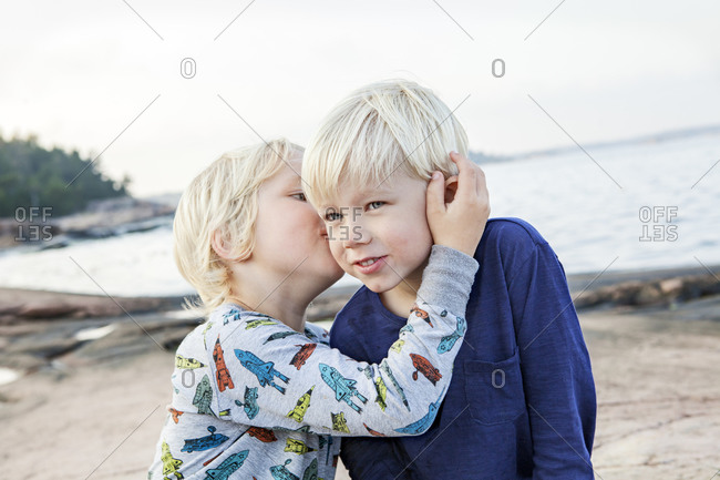 Two brothers on beach