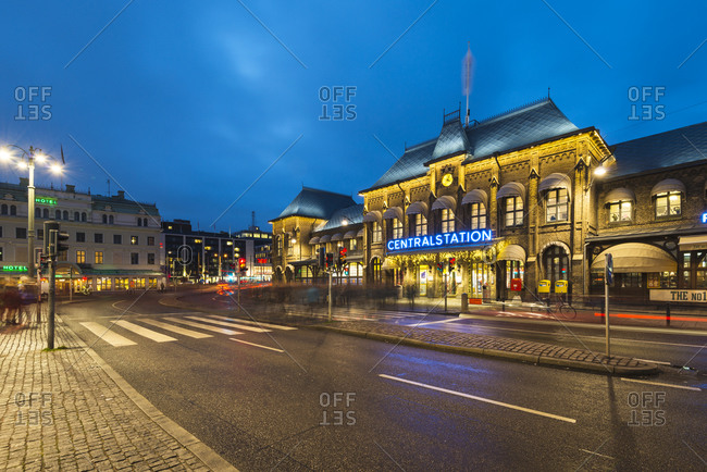 Gothenburg, Sweden - December 17, 2014: City street at night outside station