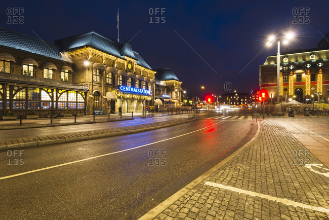Gothenburg, Sweden - December 17, 2014: City street at night outside Central Station