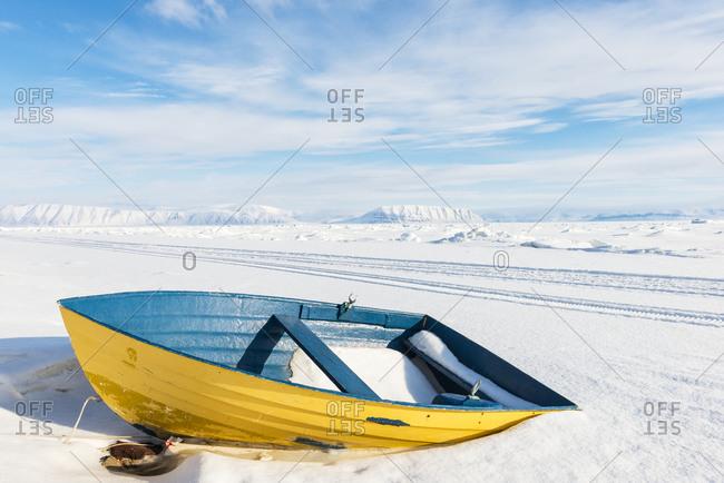 Rowboat on snow
