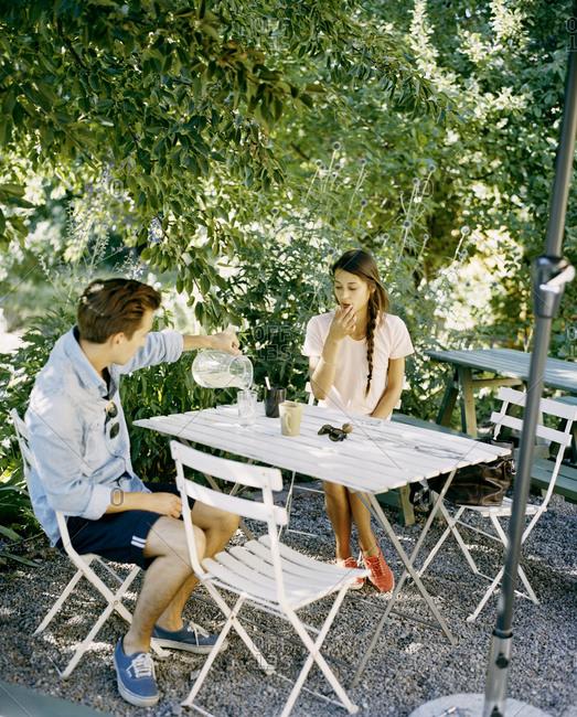 A young couple at café