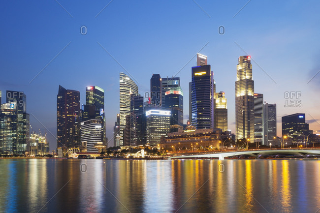Marina Bay, Singapore - May 21, 2015: Skyscrapers of Central Business District, Marina Bay