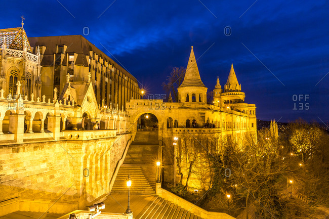 View to Fisherman's Bastion, blue hour, Budapest