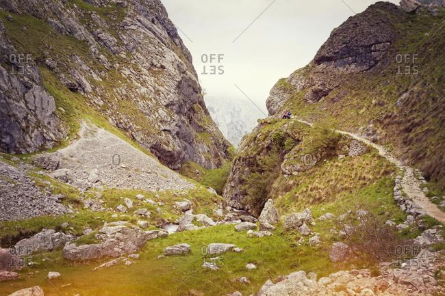 Hiking trail to gorge of Garganta del Cares, Pico de Europe, Asturias
