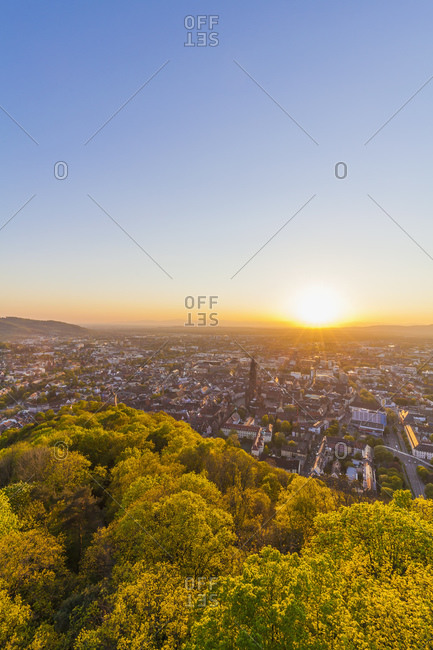 City view at sunset, Freiburg