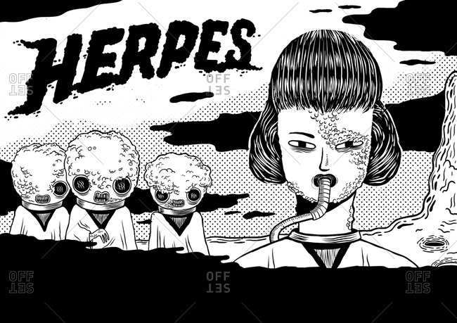 Woman and aliens under the word herpes
