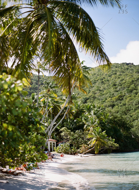 Vacationers sunbathing on a beach in St. John in the Virgin Islands