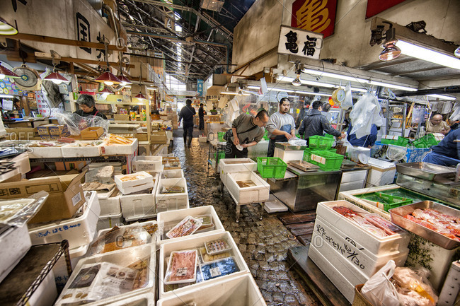 Tokyo, Japan - April 12, 2012: An aisle at the tsukiji Fish Market