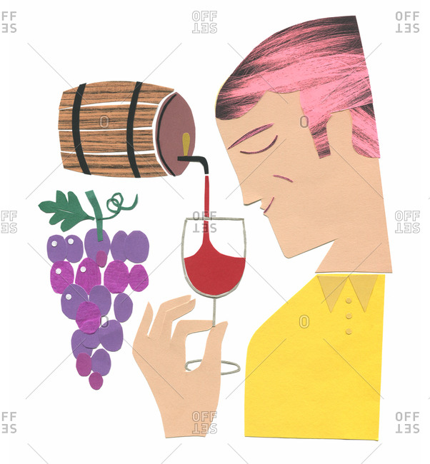 Man smelling wine from barrel