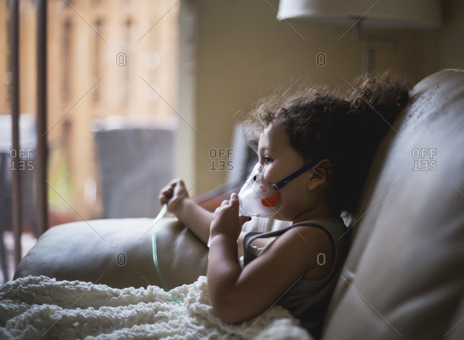 Young girl with nebulizer
