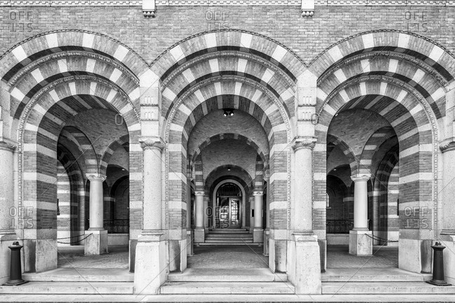 Rotterdam, Netherlands - June 1, 2015: Monumental facade, back entrance, to the century old City Hall in Rotterdam