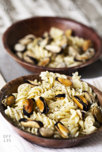 Rotini pasta with mussels