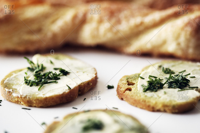 Close up of bruschetta with chives