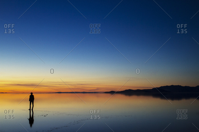 Silhouette of a person standing on a beach at sunset
