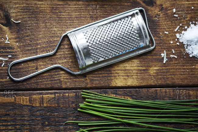 Cheese grater and chives