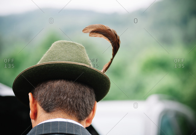 Rear view of traditional Romanian hunter's hat