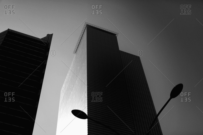 Low angle view of office building against sky, Seoul, South Korea