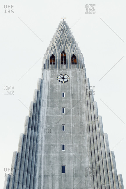 Reykjavik, Iceland - February, 10, 2015: Low angle view of Hallgrimur's Church against clear sky