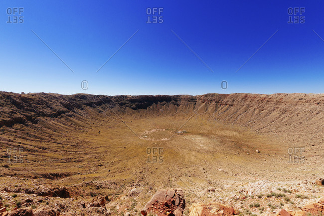 Meteor Crater against clear blue sky