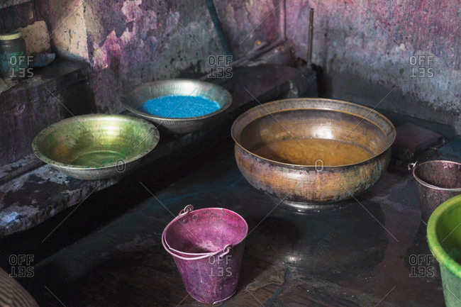 Liquid dyes in containers at workshop