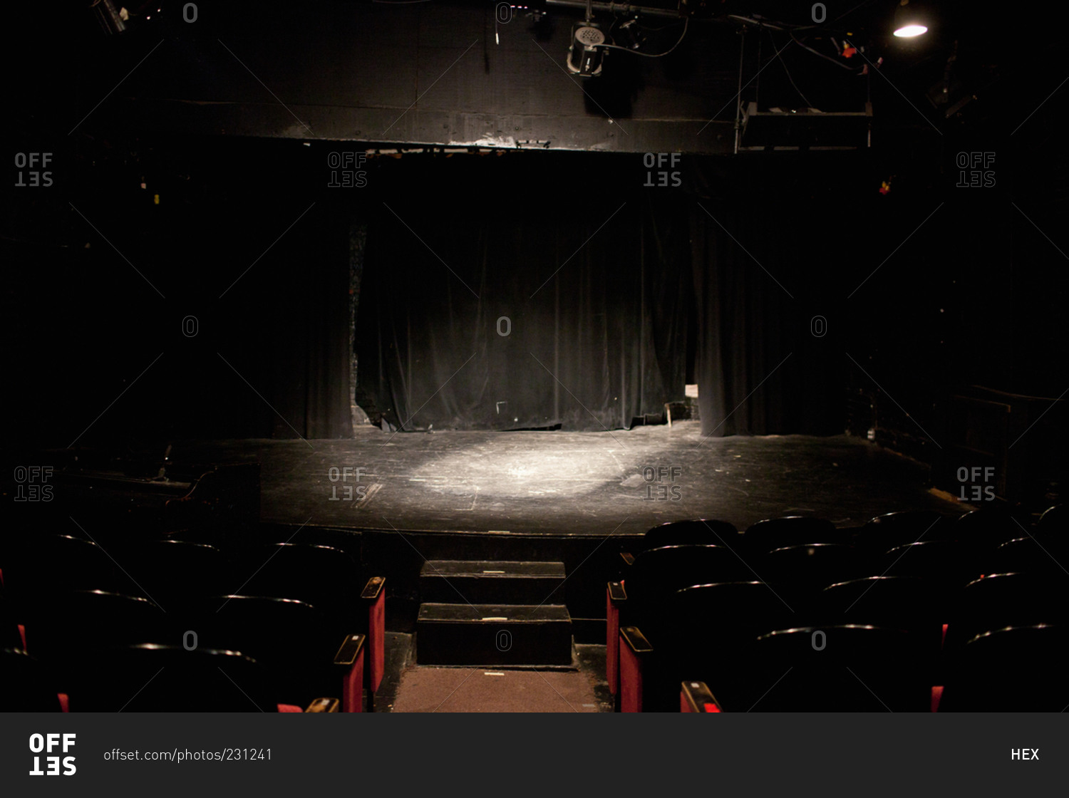 Empty Stage Lit By A Spotlight In Small Theater Stock Photo