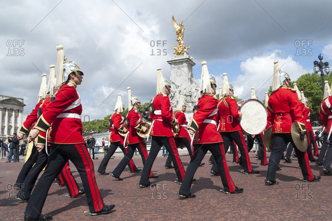 London, United Kingdom - May 12, 2011: Household Cavalry passing Buckingham Palace