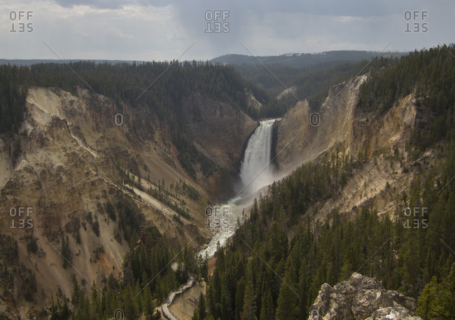 View of waterfall at the Grand Canyon of Yellowstone