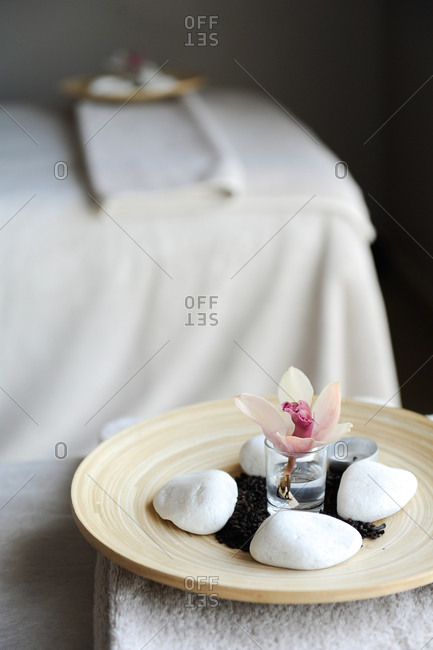 Flower and natural decor at a spa