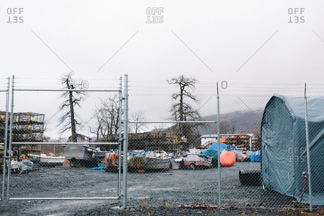 Fishing boat yard on a dreary day
